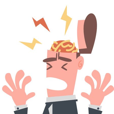 Businessman has Pain in His Brain  Illustration
