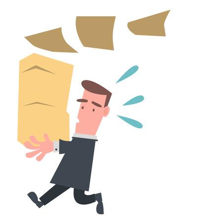 overworked: Businessman Running Illustration