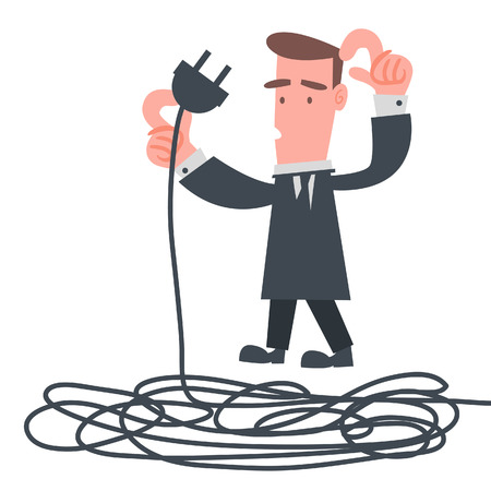 tied up: Businessman with Electric Wire  Illustration