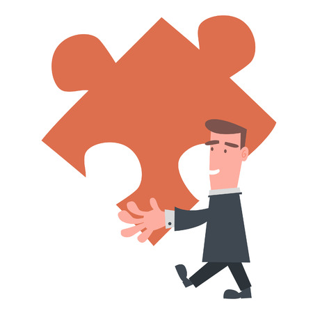 Businessman Holding Big Puzzle