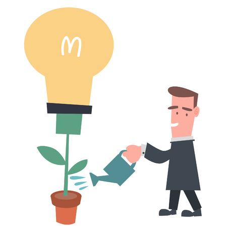 Businessman Growing Light Bulb