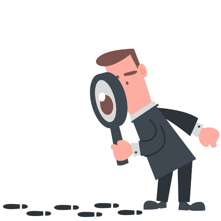 magnification: Businessman Looking at The Footprint