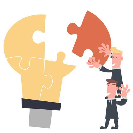 ビジネス チーム完全なアイデア パズル