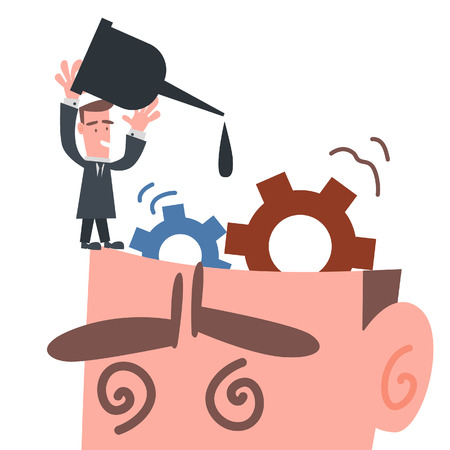 brain power: Businessman Fixing Gear in His Brain  Illustration