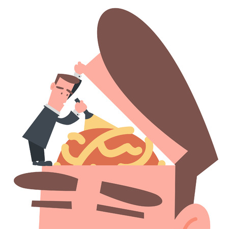 Businessman Finding Something in His Brain  Vector