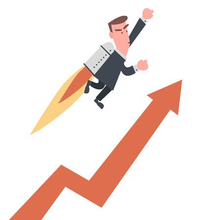 ビジネスマンがチャートの上を飛んで  イラスト・ベクター素材