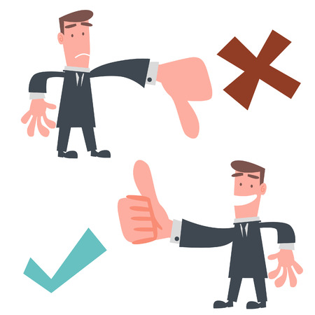 deny: Businessman Thumb Up and Down