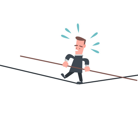 Businessman Walking on The Rope  Vector