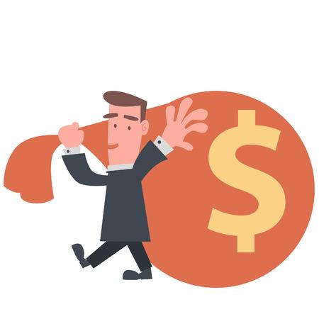 Businessman with Big Cash Bag  Vector