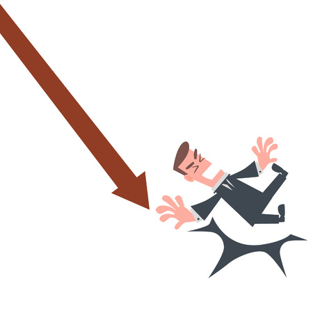 stock market crash: Businessman Falling From the Chart