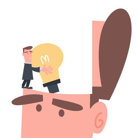 installing: Businessman Installing Idea in His Brain  Illustration