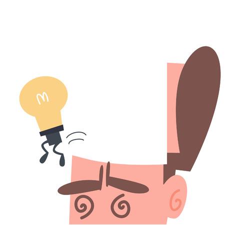 Light Bulb Runaway from The Brain  Vector