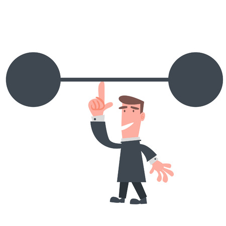lifting weights: Businessman Holding Dumbbell with One Finger