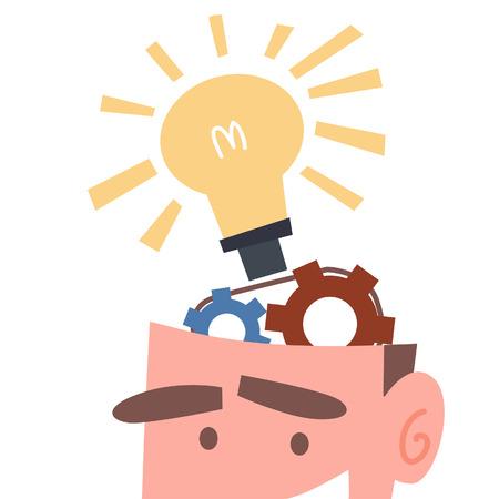 ビジネスマンの脳で作業のアイデア  イラスト・ベクター素材
