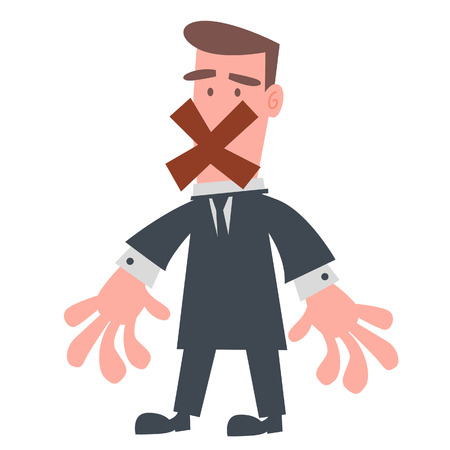 shut up: Red X Closing Businessman Mouth  Illustration