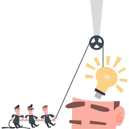 Businessman Team Installing Idea into The Brain  Vector