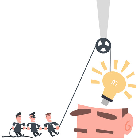 installing: Businessman Team Installing Idea into The Brain