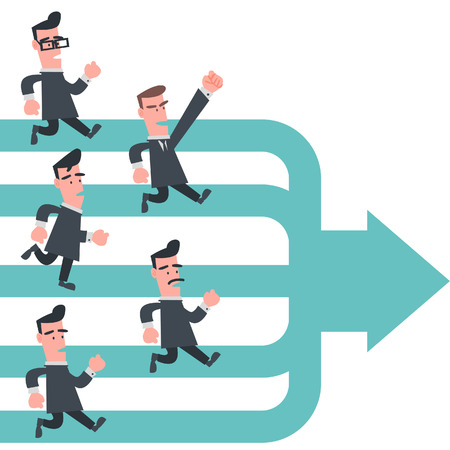 the same: Business People Running to The Same Way