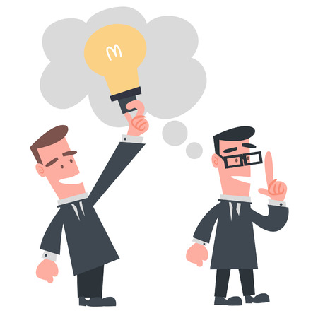steal brain: Businessman Stealing Idea from the Other