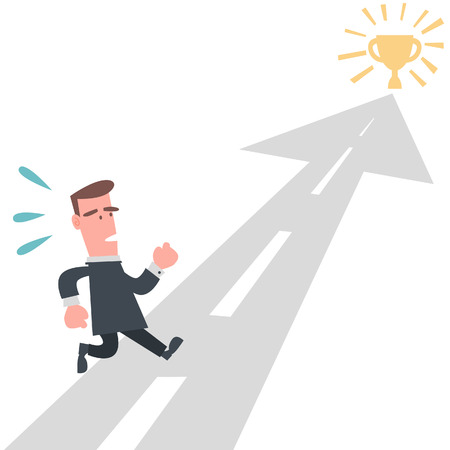 corporate vision: Businessman Running to the Goal  Illustration