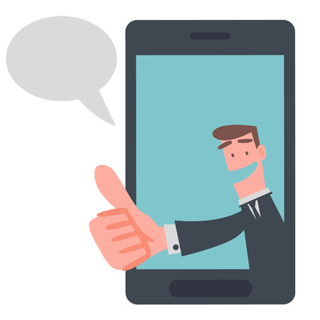 Businessman Show Thumb Up in Mobile Phone  Stock Illustratie