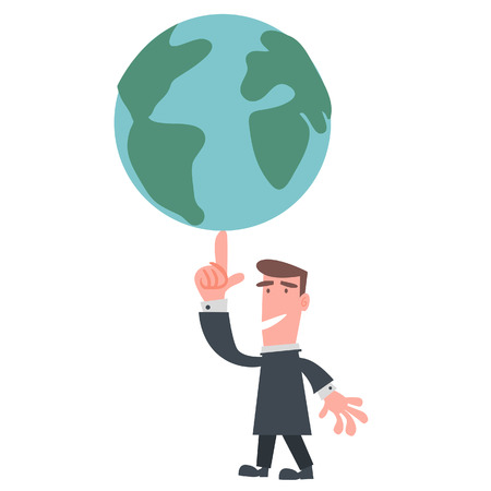 Businessman Control the World with one Finger  Vector