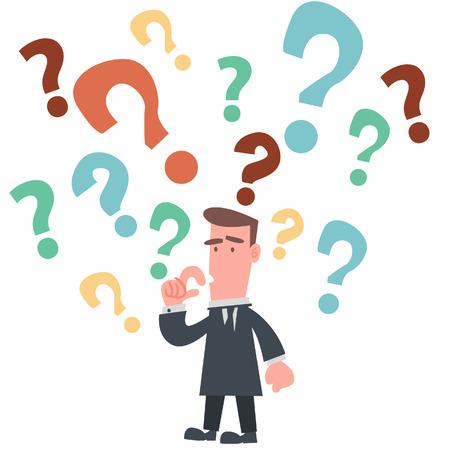 多くの疑問符があるビジネスマン  イラスト・ベクター素材