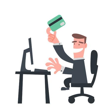 Businessman Use Credit Card on Internet  Vector