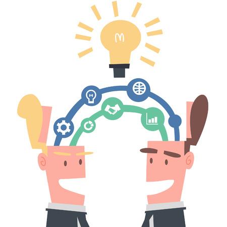 Two Businessmen Linking Idea