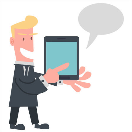personal data assistant: Businessman Using Tablet to Presentation