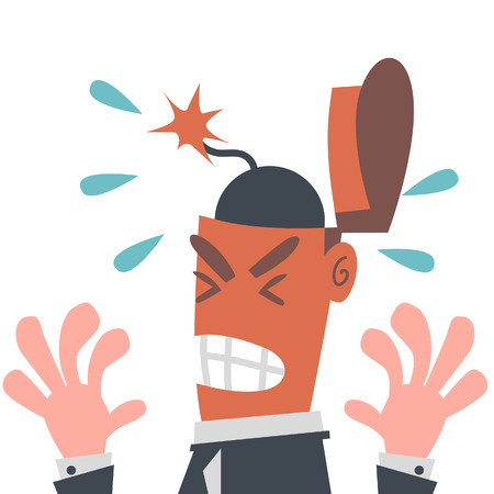 Businessman with Bomb in His Head  Vector
