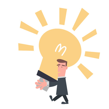Businessman with Big Light Bulb  Vector