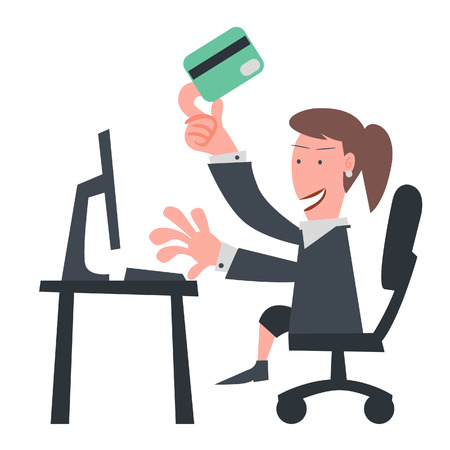Business Girl Using Credit Card on Internet  Illustration