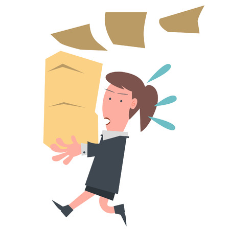 exhausted: Business Girl Holding Document  Illustration