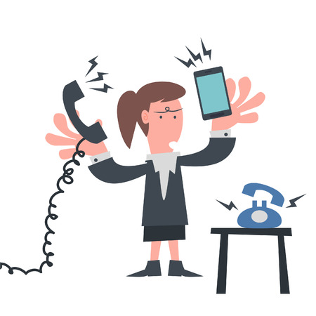 Busy Business woman with Telephone  Vector