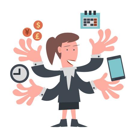 ビジネス オブジェクトを持っている多くの手を持つ女性実業家