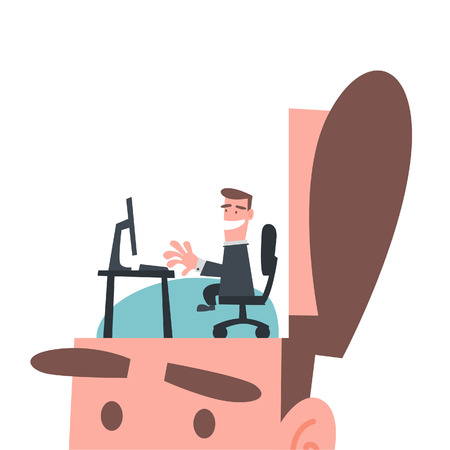 workday: Businessman Working in His Brain
