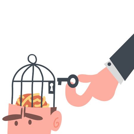 Businessman With Brain in Cage  Stock Illustratie