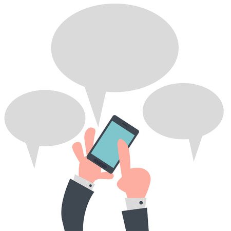 Mobile Phone with Speech Bubble  Vector