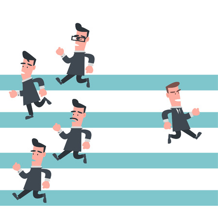 different way: Businessman Running in Different Way  Illustration