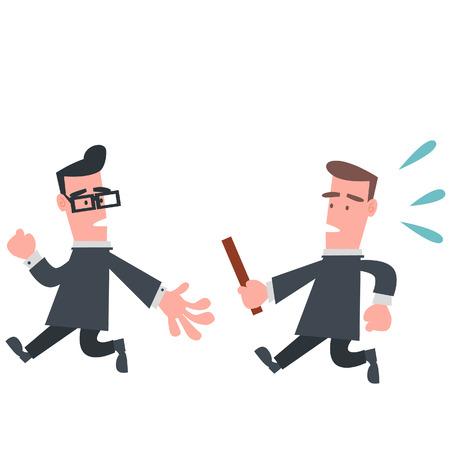 Businessman in Relay Race  Illustration