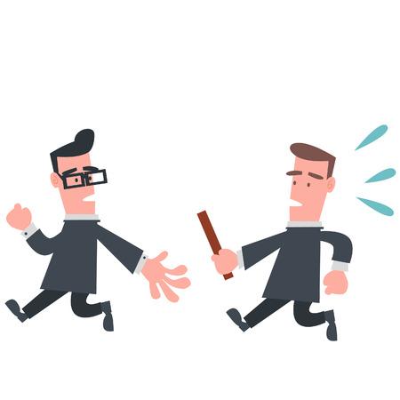 carrera de relevos: Hombre de negocios en carrera de relevos Vectores