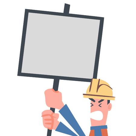 Manual Worker Showing Notice Board  Vector