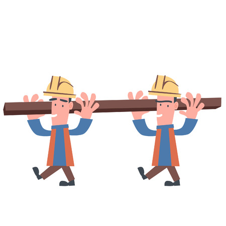 Two Engineer Carry Construction Materials  Vector