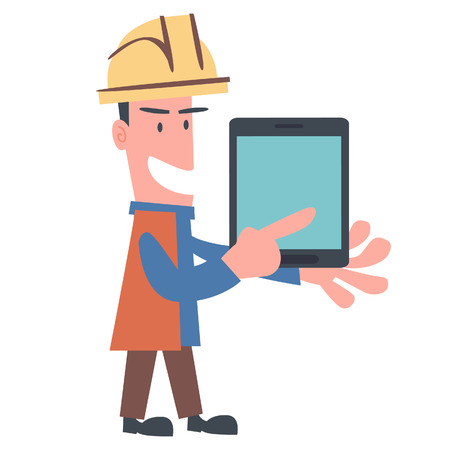 Happy Engineer Using Tablet  Vector