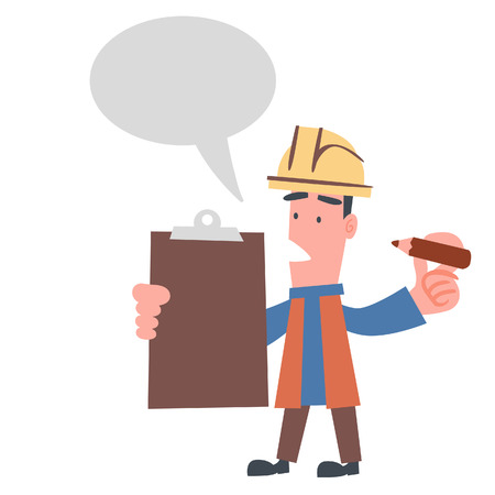 building inspector: Engineer Checking with Speech Balloon