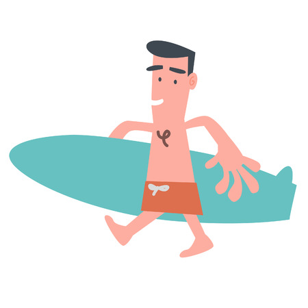 Man with Surfboard  Vector