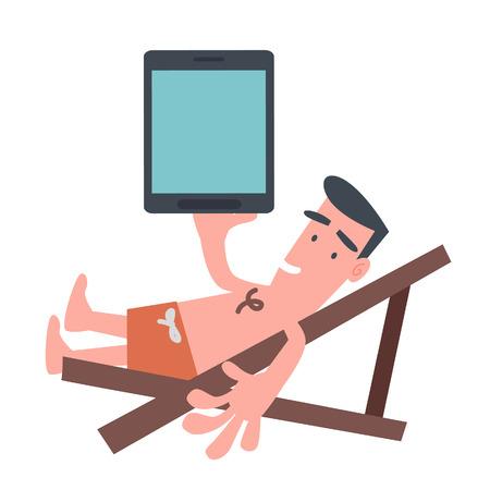 Man on The Beach Chair with Tablet  Vector