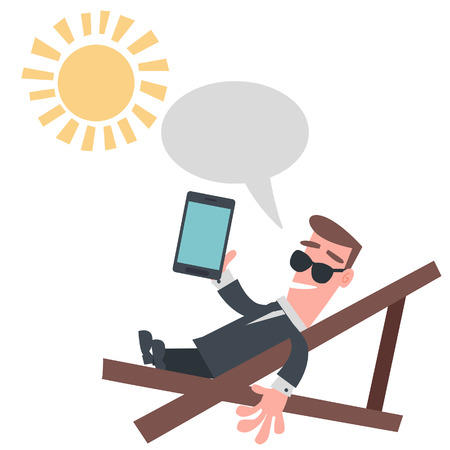 Businessman on The Beach Chair with Tablet