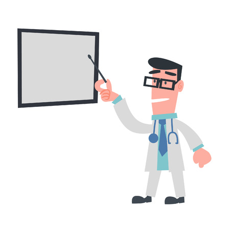 Physician Pointing at The Board  Vector